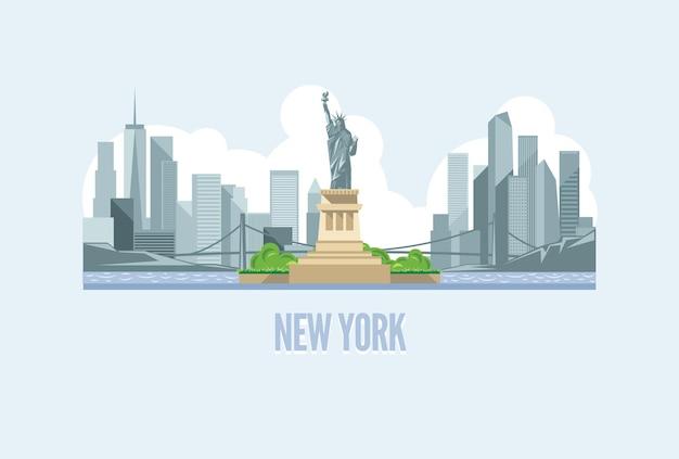 Ilustração do horizonte da cidade de nova york nos eua Vetor Premium