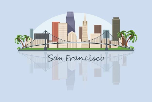 Ilustração do horizonte da cidade de são francisco nos eua Vetor Premium