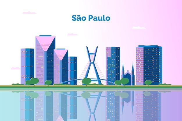 Ilustração do horizonte de são paulo Vetor Premium