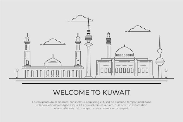 Ilustração do horizonte linear kuwait Vetor Premium