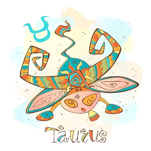 Ilustração do horóscopo infantil. zodíaco para crianças. signo de touro Vetor Premium