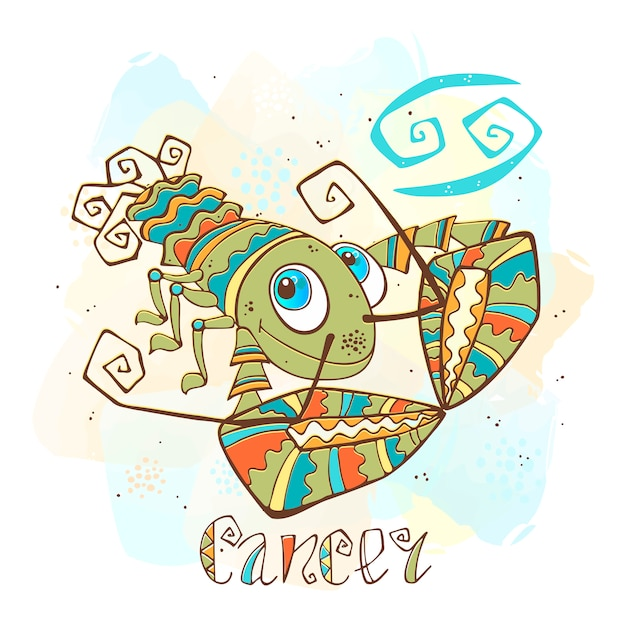 Ilustração do horóscopo infantil. zodíaco para crianças. sinal de câncer Vetor Premium