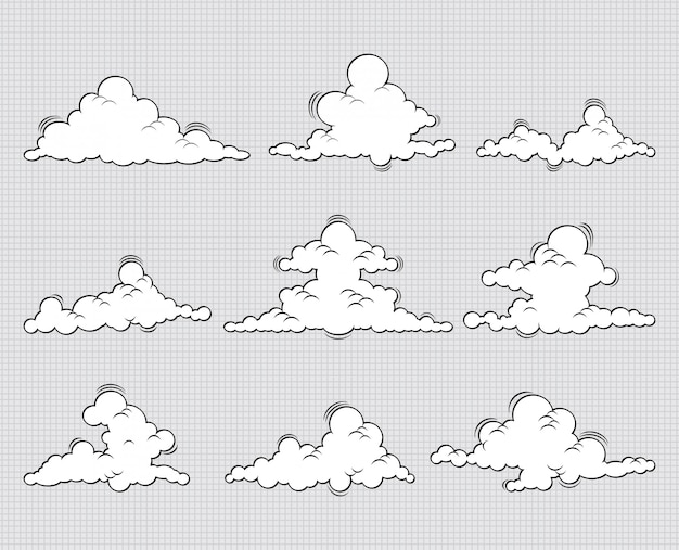 Ilustração do ícone de conjunto de nuvens Vetor Premium