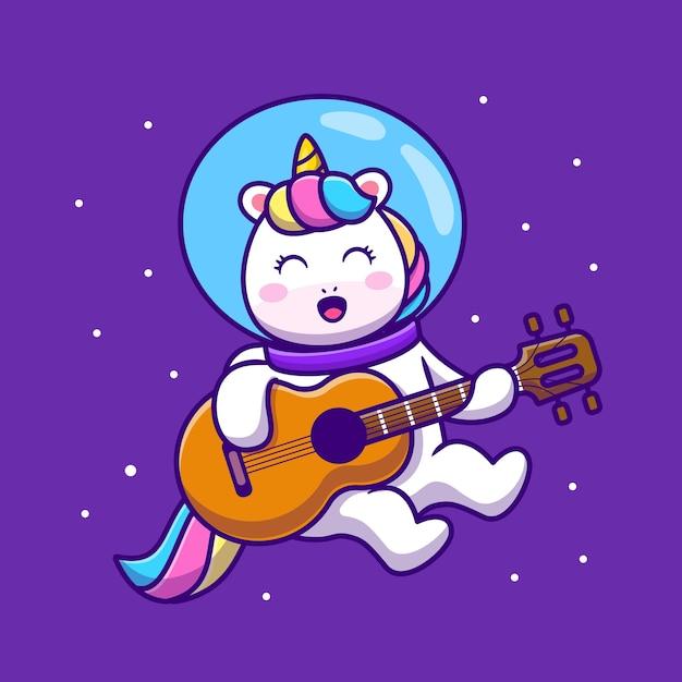 Ilustração do ícone de desenho animado bonito unicórnio tocando guitarra Vetor grátis