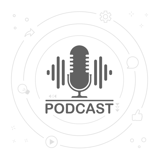 Ilustração do ícone de rádio podcast. microfone de mesa de estúdio com podcast de transmissão de texto. logotipo do conceito de gravação de áudio de webcast. Vetor Premium