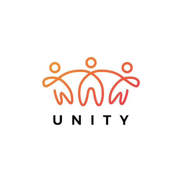 Ilustração do ícone do logotipo da unidade de pessoas humanas juntos Vetor Premium