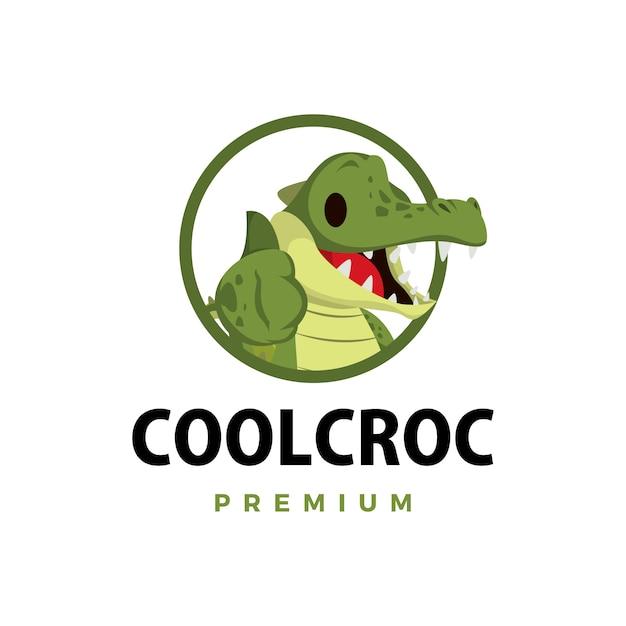 Ilustração do ícone do logotipo do personagem crocodilo polegar para cima Vetor Premium