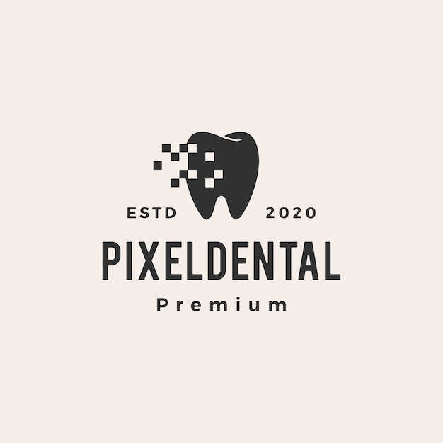 Ilustração do ícone do logotipo vintage digital de pixel dental Vetor Premium