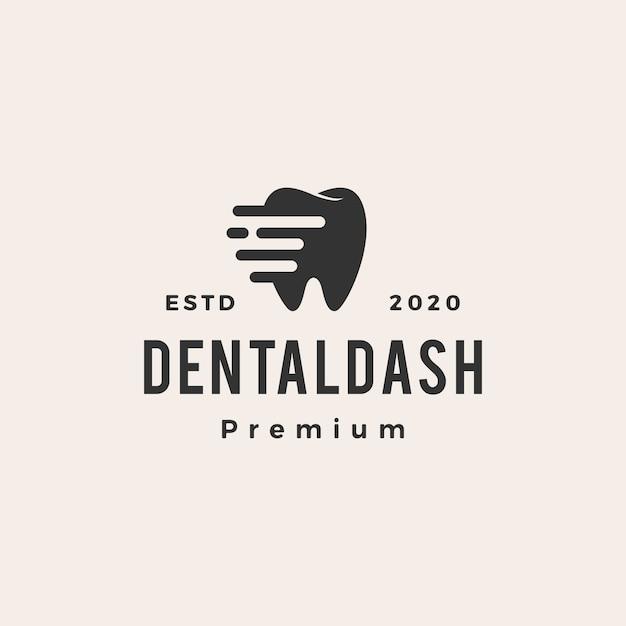 Ilustração do ícone do logotipo vintage do traço odontológico Vetor Premium