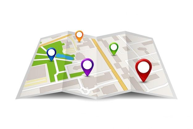 Ilustração do ícone do mapa da cidade. símbolo de rua da cidade de viagens. desenho de mapa com sinal de gps Vetor Premium