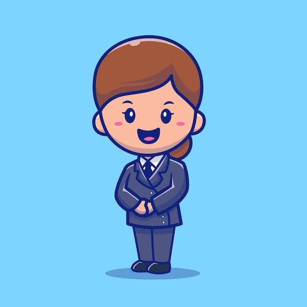 Ilustração do ícone do vetor bonito dos desenhos animados aeromoça. conceito de ícone de profissão de pessoas isolado vetor premium. estilo flat cartoon Vetor grátis