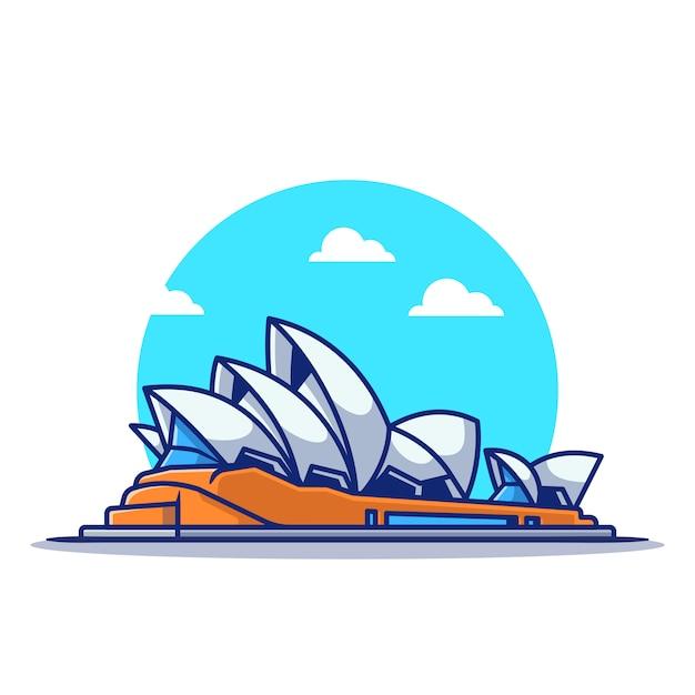 Ilustração do ícone dos desenhos animados da sydney opera house. conceito de ícone itinerante famoso edifício isolado. estilo flat cartoon Vetor Premium
