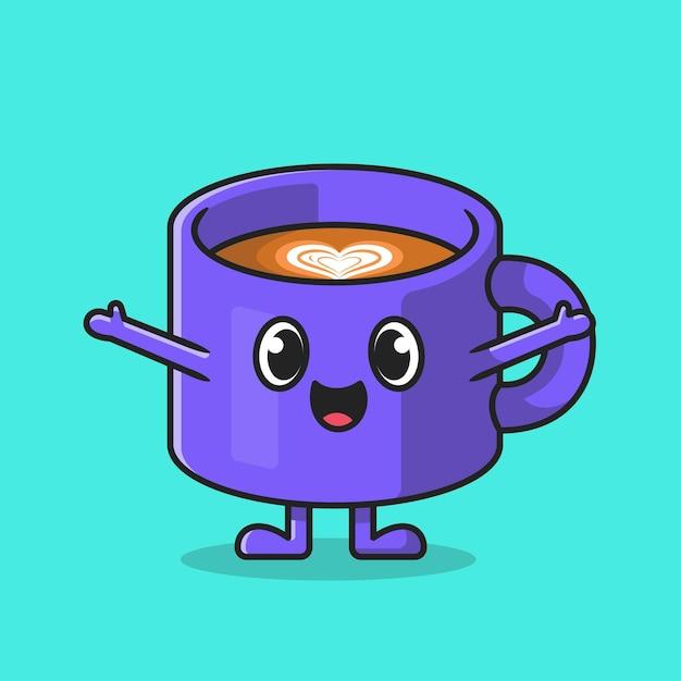 Ilustração do ícone dos desenhos animados do copo de café bonito. Vetor grátis