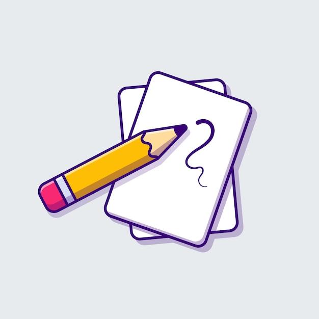 Ilustração do ícone dos desenhos animados do papel e do lápis. conceito de ícone de objeto de educação isolado. estilo flat cartoon Vetor grátis