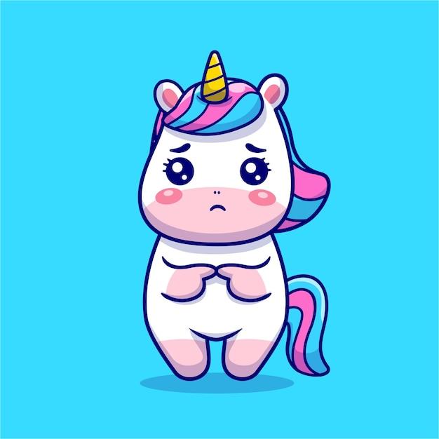 Ilustração do ícone dos desenhos animados triste do unicórnio bonito. Vetor grátis