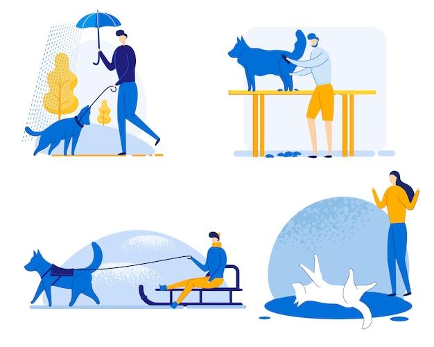 Ilustração do jogo do treinamento do cão, desenhos animados. Vetor Premium