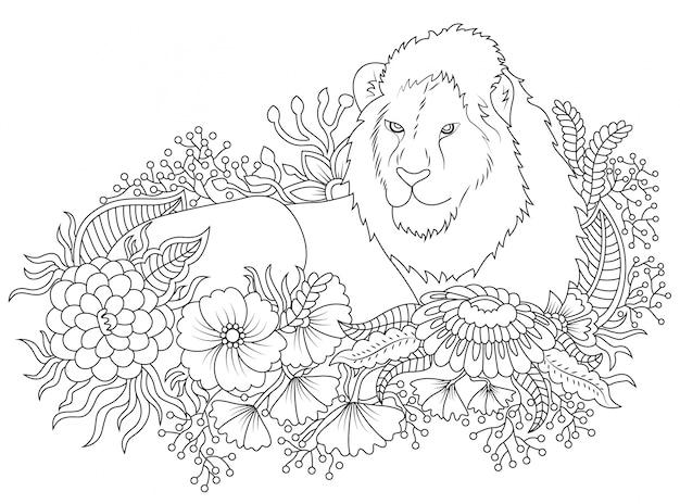 ilustração do leão e da flor a colorir baixar vetores grátis