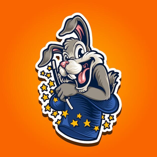 Ilustração do logotipo da mascote coelho mágico Vetor Premium