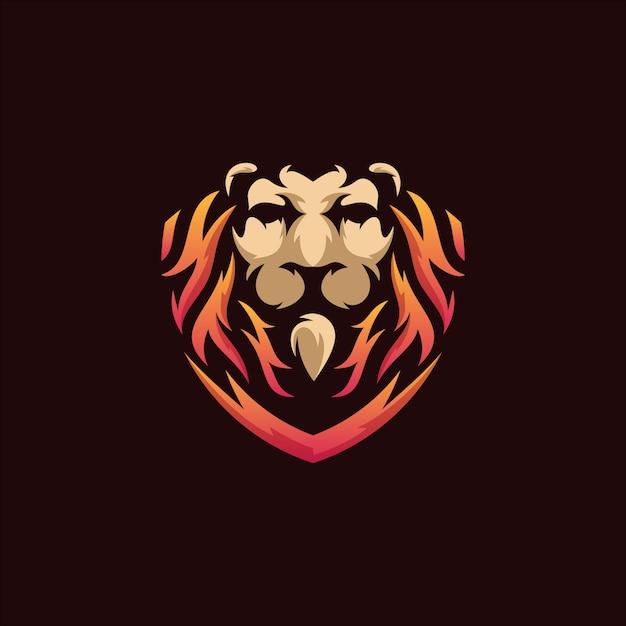 Ilustração do logotipo de escudo de leão Vetor Premium