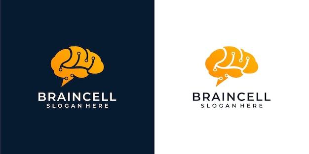 Ilustração do logotipo do cérebro Vetor Premium