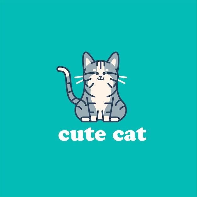 Ilustração do logotipo do gato fofo Vetor Premium