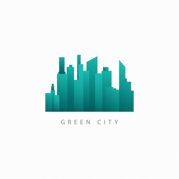 Ilustração do logotipo do green city vector template design Vetor Premium