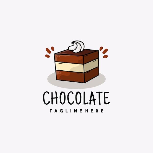 Ilustração do logotipo do ícone do bolo de chocolate para sobremesa criativa Vetor Premium
