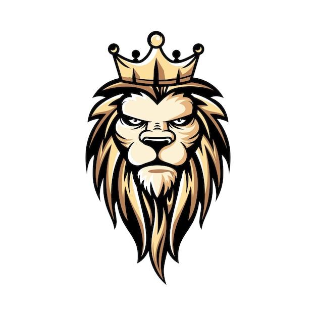 Ilustração do logotipo do leão de luxo e e-sport Vetor Premium