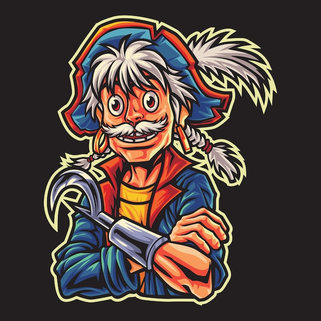 Ilustração do logotipo do old pirates esport Vetor Premium