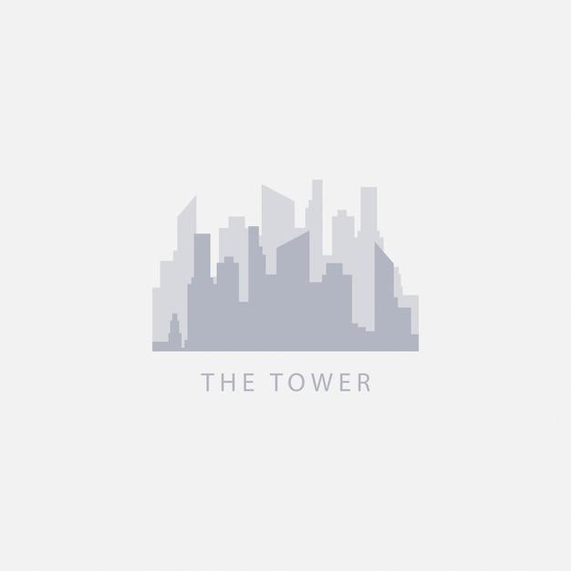 Ilustração do logotipo do projeto do modelo de vetor da torre Vetor Premium