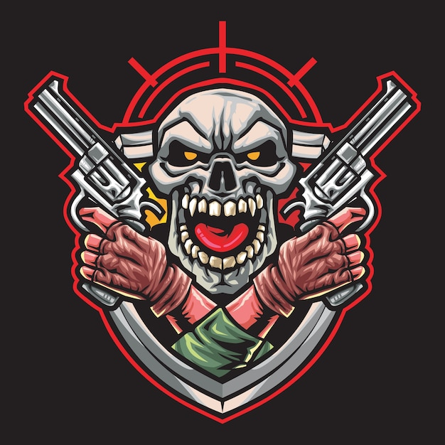 Ilustração do logotipo do skull gunner esport Vetor Premium