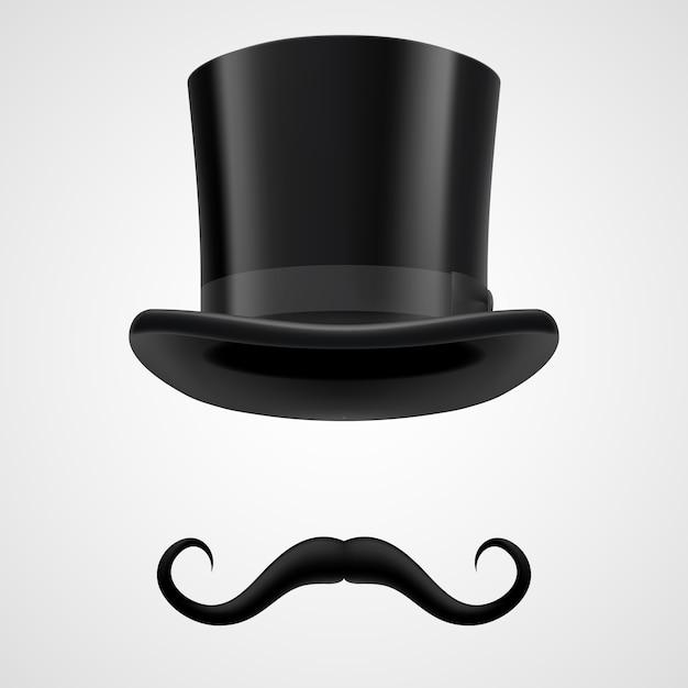 Ilustração do mágico do chapéu bigodes e chaminé Vetor Premium
