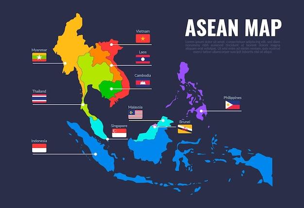Ilustração do mapa asean Vetor Premium