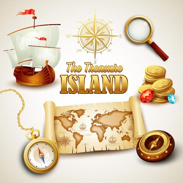 Ilustração do mapa treasure island Vetor Premium