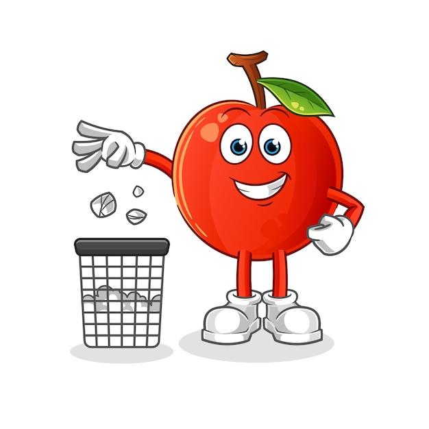 Ilustração do mascote da cereja jogando lixo na lata de lixo Vetor Premium