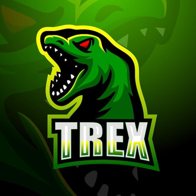 Ilustração do mascote do dinossauro trex Vetor Premium