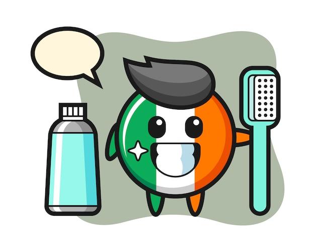 Ilustração do mascote do distintivo da bandeira da irlanda com uma escova de dentes Vetor Premium