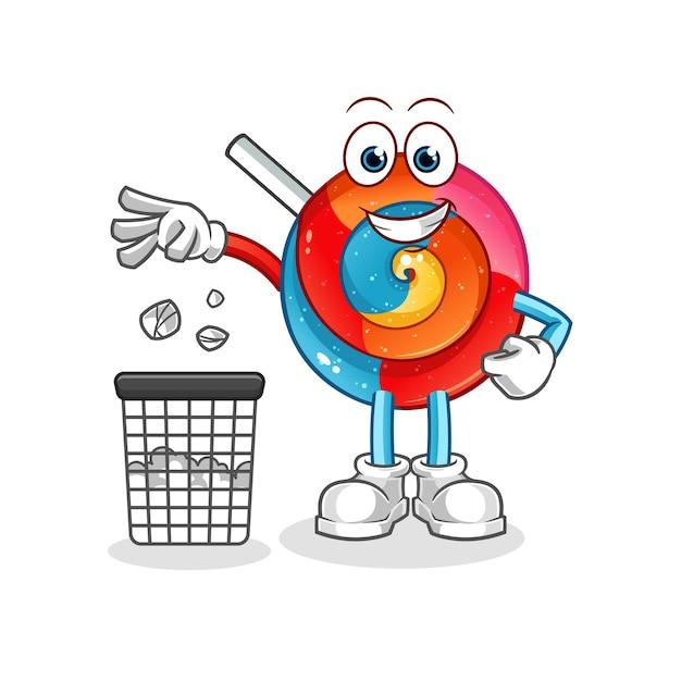 Ilustração do mascote do pirulito jogue lixo na lata de lixo Vetor Premium