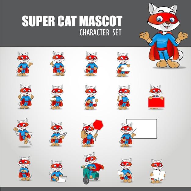 Ilustração do mascote do supergato Vetor Premium