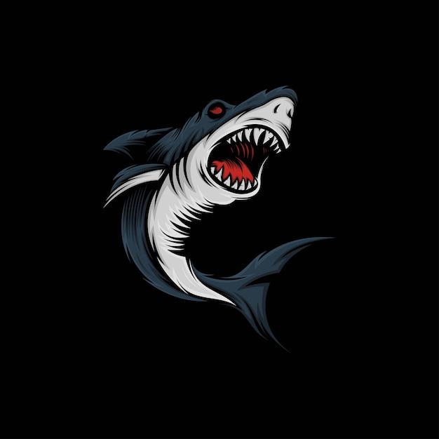 Ilustração do mascote do tubarão Vetor Premium