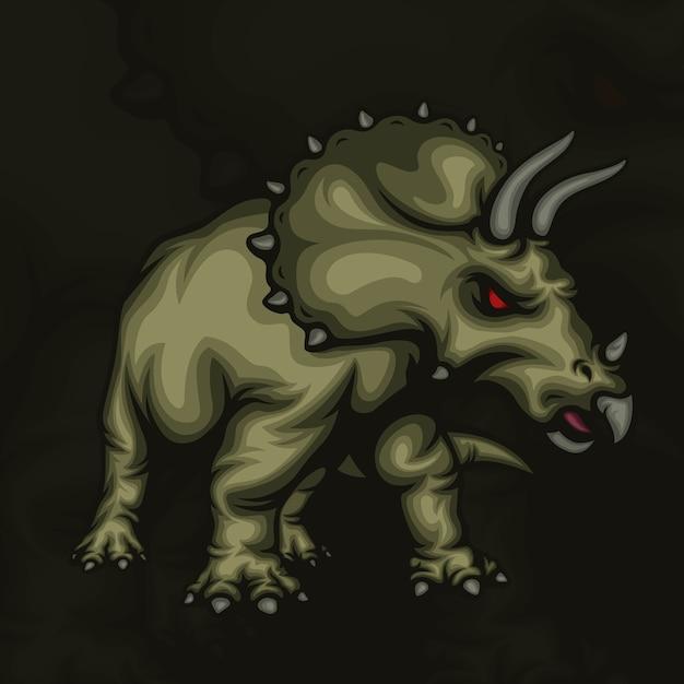 Ilustração do mascote triceratops esport Vetor Premium