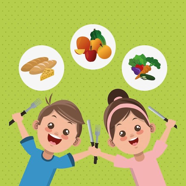 Ilustração do menu infantil, alimentos e nutrição relacionados Vetor Premium