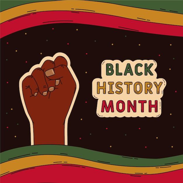 Ilustração do mês da história negra desenhada à mão Vetor grátis