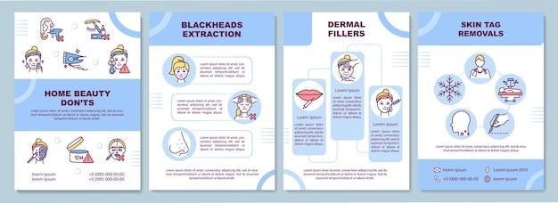 Ilustração do modelo de folheto de tratamentos de beleza em casa Vetor Premium