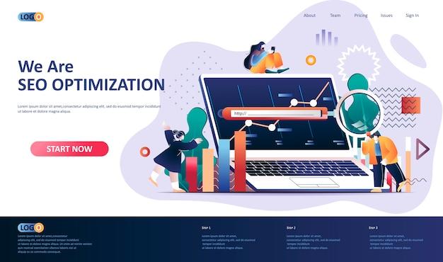 Ilustração do modelo de página de destino de otimização de seo Vetor Premium