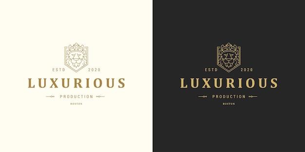 Ilustração do modelo do logotipo do emblema da linha principal do leão Vetor Premium