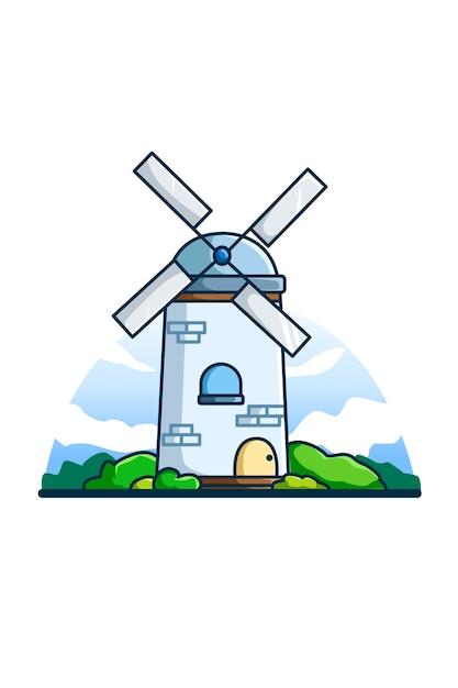 Ilustração do moinho de vento ao meio-dia Vetor Premium