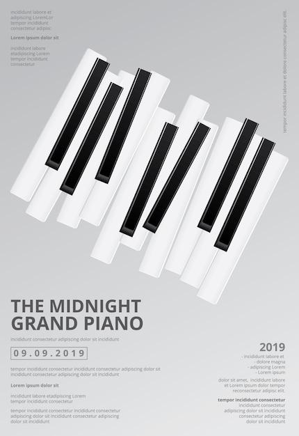 Ilustração do molde do fundo do cartaz do piano de cauda da música Vetor Premium
