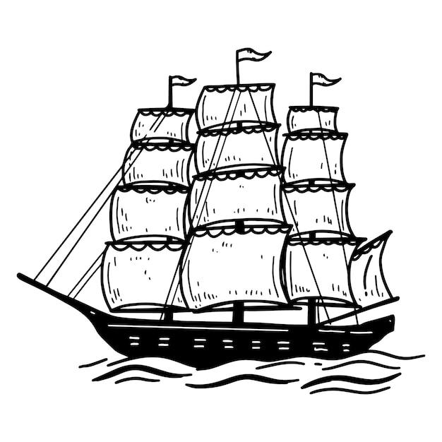 Ilustração do navio do mar vintage. elemento para cartaz, cartão, emblema, sinal, banner. imagem Vetor Premium