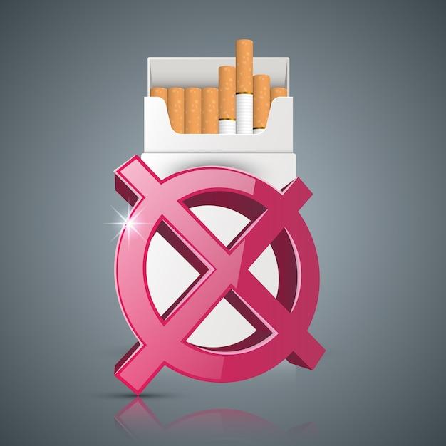 Ilustração do negócio de um cigarro e dano. Vetor Premium